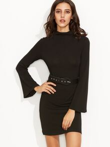 Black Mock Neck Bell Sleeve Sheath Dress With Belt