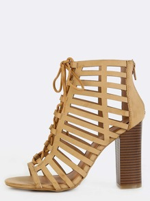 Open Toe Cut Out Chunky Heels SAND