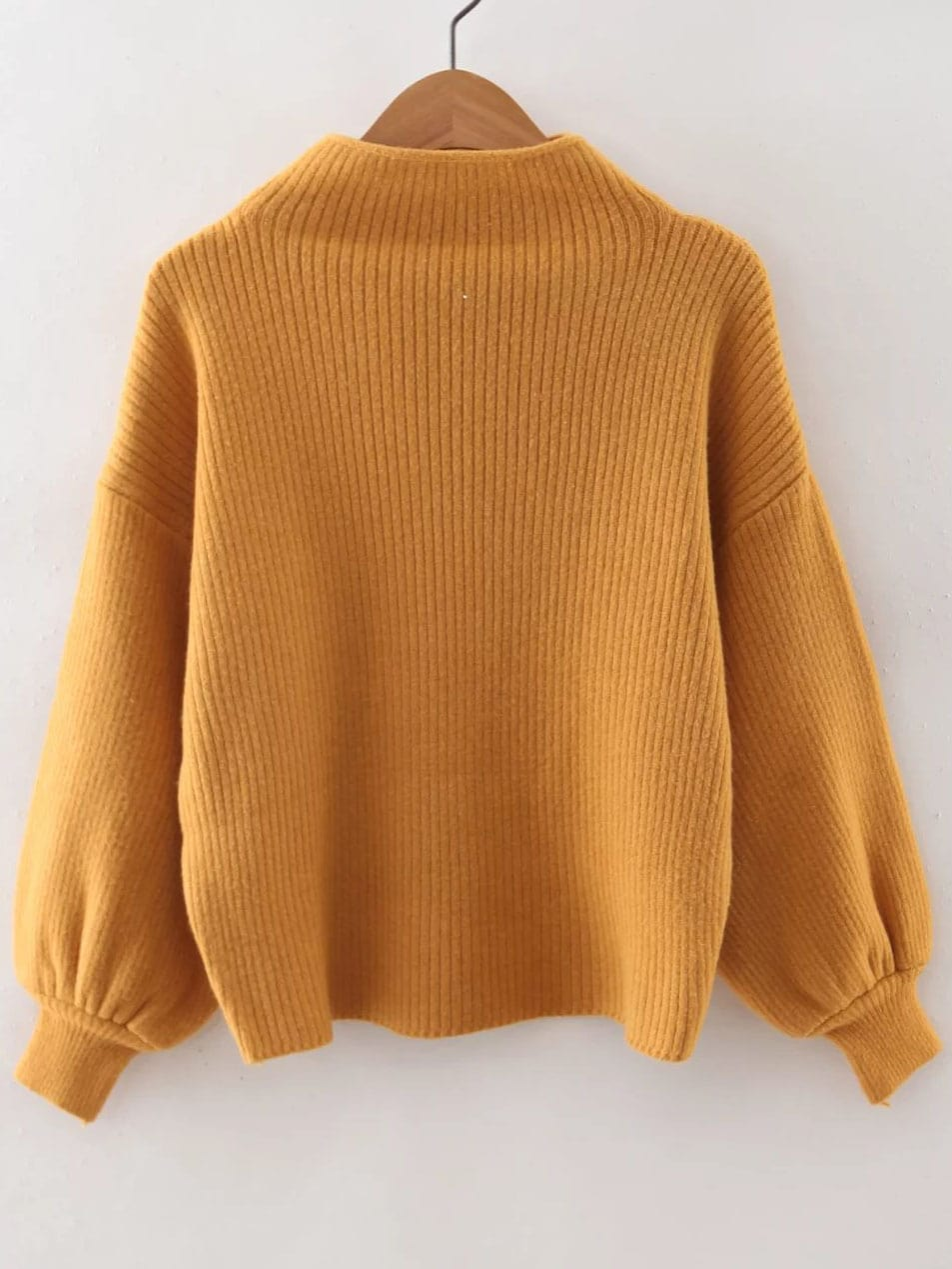 Yellow Ribbed Lantern Sleeve Loose Knitwear -SheIn(Sheinside)