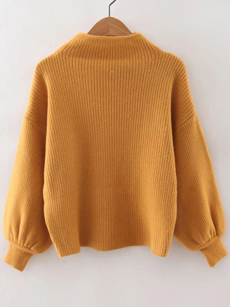 Yellow Ribbed Lantern Sleeve Loose Knitwear sweater160817227