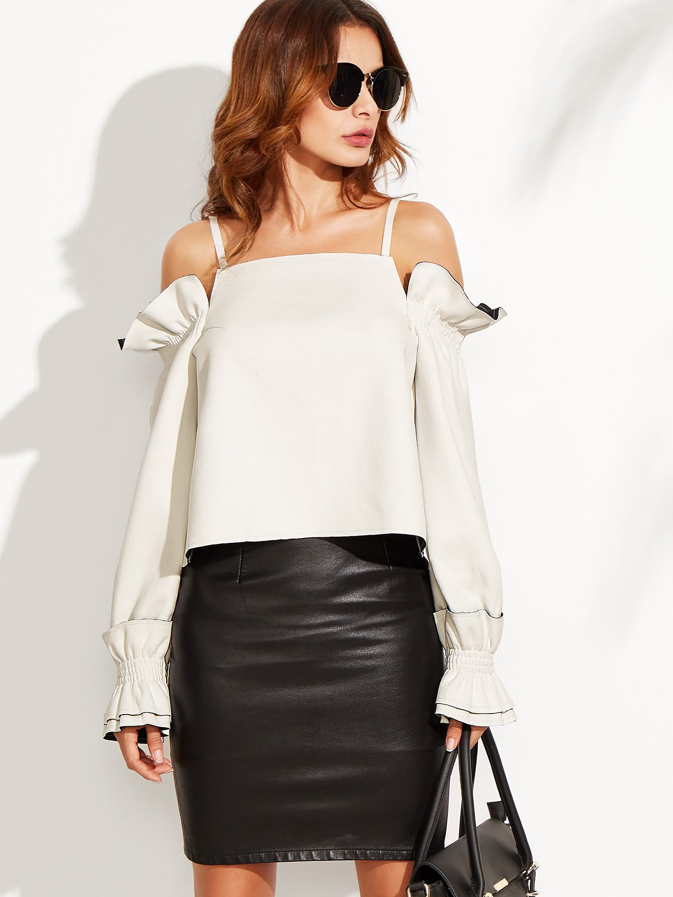 White Split Back Cold Shoulder Ruffle Top