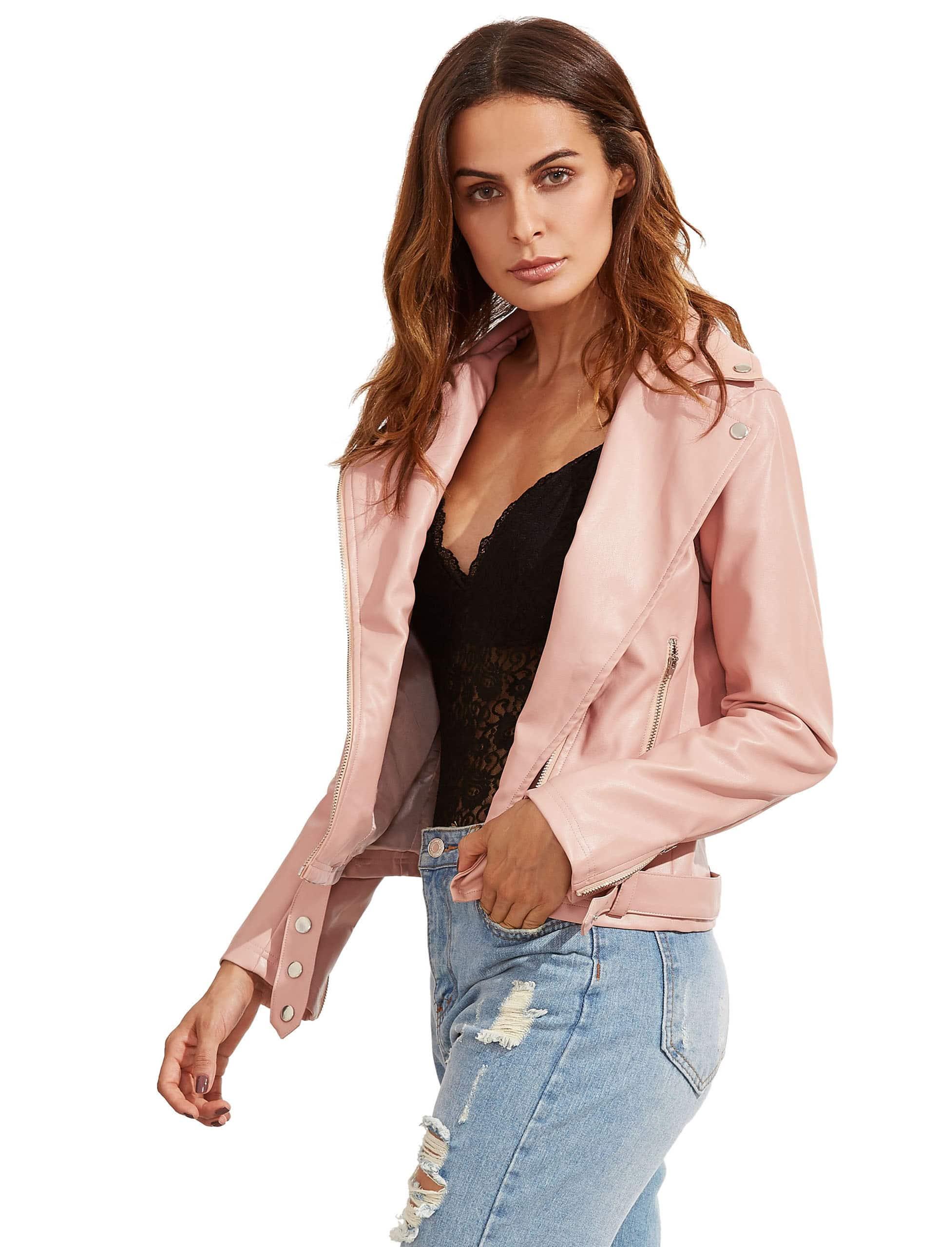 Pink Long Sleeve Lapel Zipper Jackets jacket160820764