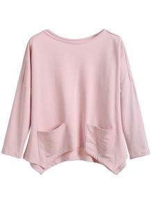 Pink Drop Shoulder Pockets Hem Asymmetric T-shirt