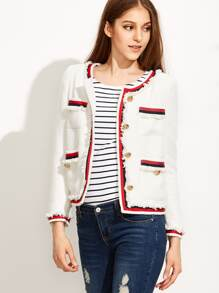 White Striped Trim Frayed Tweed Jacket
