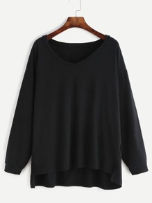 Black V Neck Slit Side High Low Sweatshirt