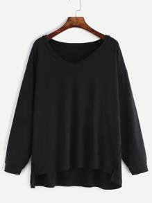 Black V Neck Slit Side High Low Sweatshirt