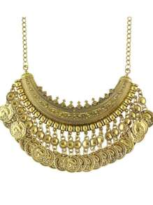 Antique Gold Tibetan Design Hanging Coins Statement Wedding Necklace For Women