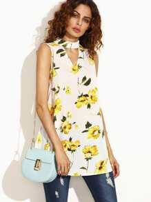 Floral Print Cut Out Tie Back Sleeveless Top