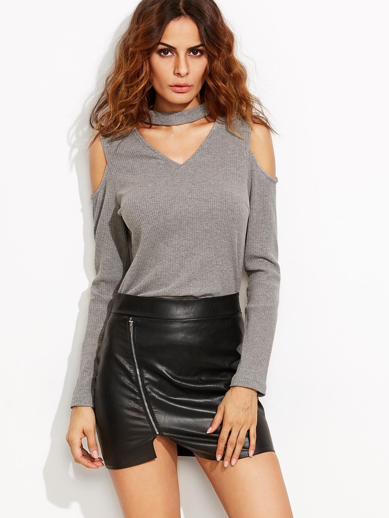 Heather Grey Cutout Choker Open Shoulder Ribbed T-shirt tee160810701