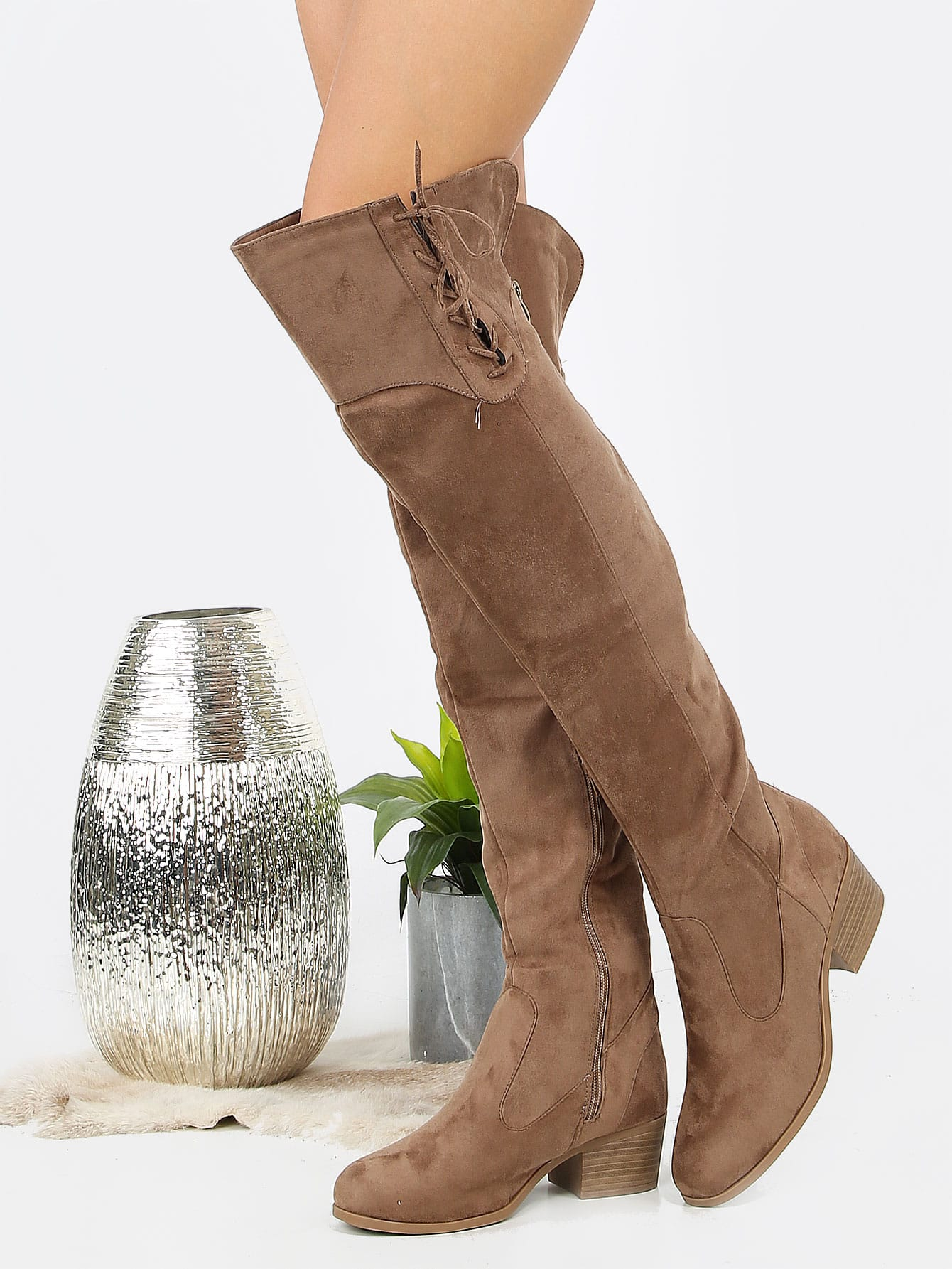 Купить со скидкой Faux Suede Over Knee Lace Boots TAUPE