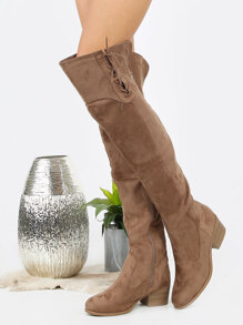 Faux Suede Over Knee Lace Boots TAUPE