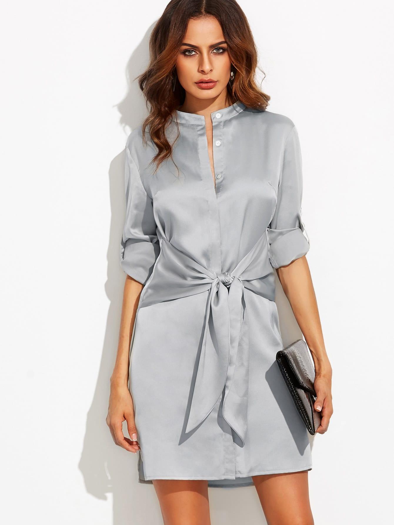 Roll Up Sleeve Tie Waist Split Dress patchwork zip up tie waist dress