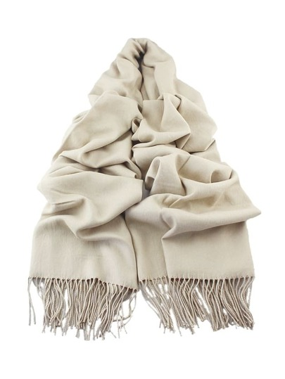 Beige Solid Color Wide Scarf With Tassel
