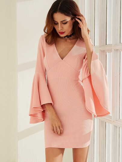Pink V Neck Oversized Bell Sleeve Sheath Dress