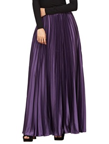 Zipper Side Pleated Maxi Skirt