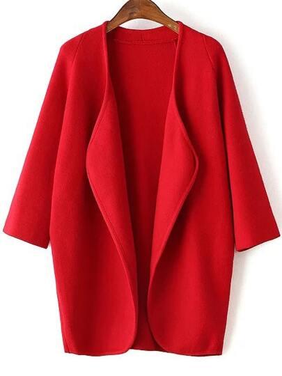Red Draped Collar Raglan Sleeve Long Cardigan
