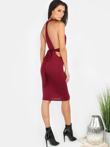 Ruched Halter Wrap Dress WINE