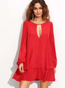 Red Cut Out Front Layered Shift Dress