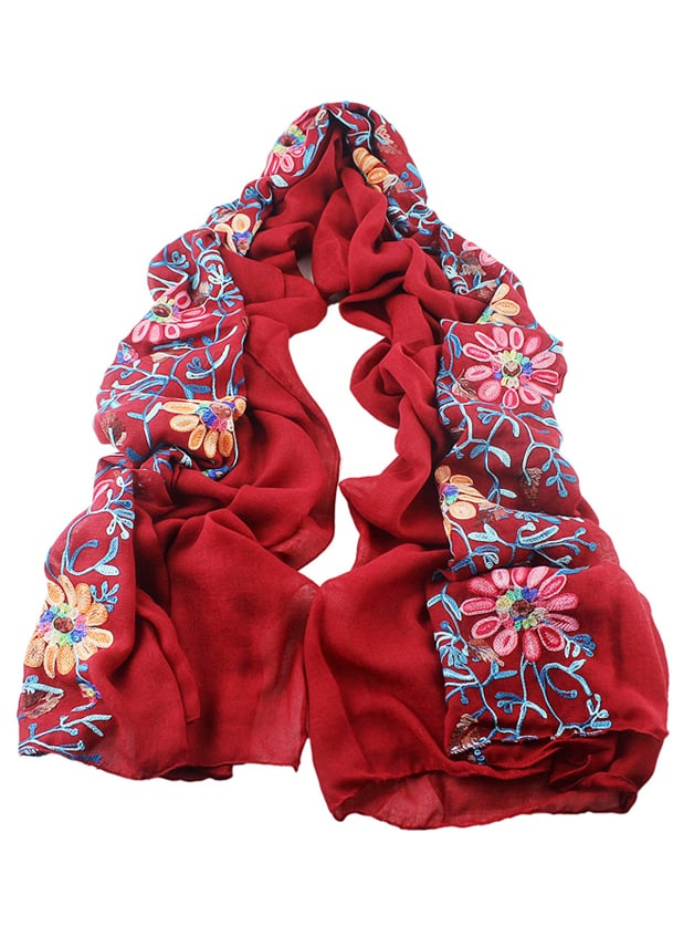 Red Flower Printed Boho Style Wide Cotton Scarf For Ladies