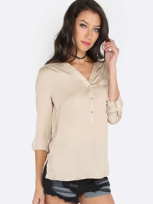 Cuffed Sleeve Button Front Blouse TAUPE