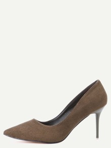 Army Green Faux Suede Pointed Toe Pumps