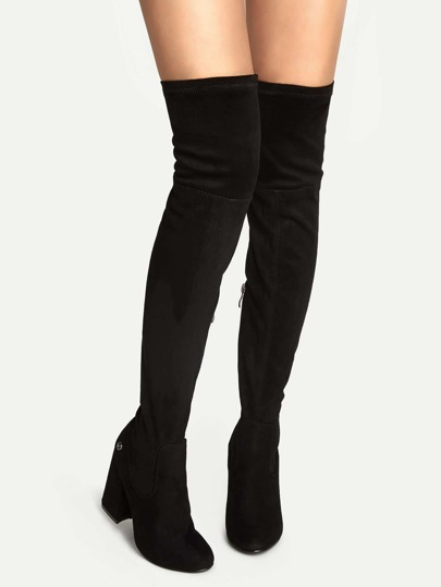 Black Faux Suede Point Toe Over The Knee Boots