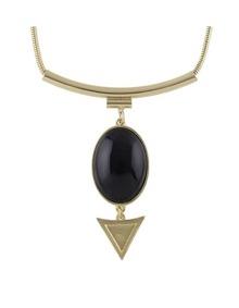 Black Hanging Stone Pendant Necklace