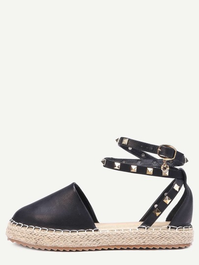 Black Buckled Ankle Strap Faux Leather Flatform Sandals