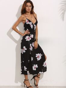 Black Spaghetti Strap Floral Print Backless Split Dress