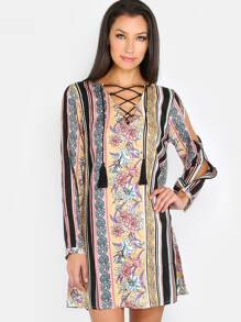 Floral Stripe Lace Up Shift Dress MULTI