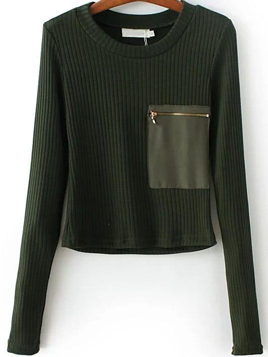 Dark Green Zipper Pocket Ribbed Knit Sweater sweater160808205