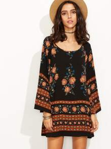 Black Flower Print Bell Sleeve Tunic Dress