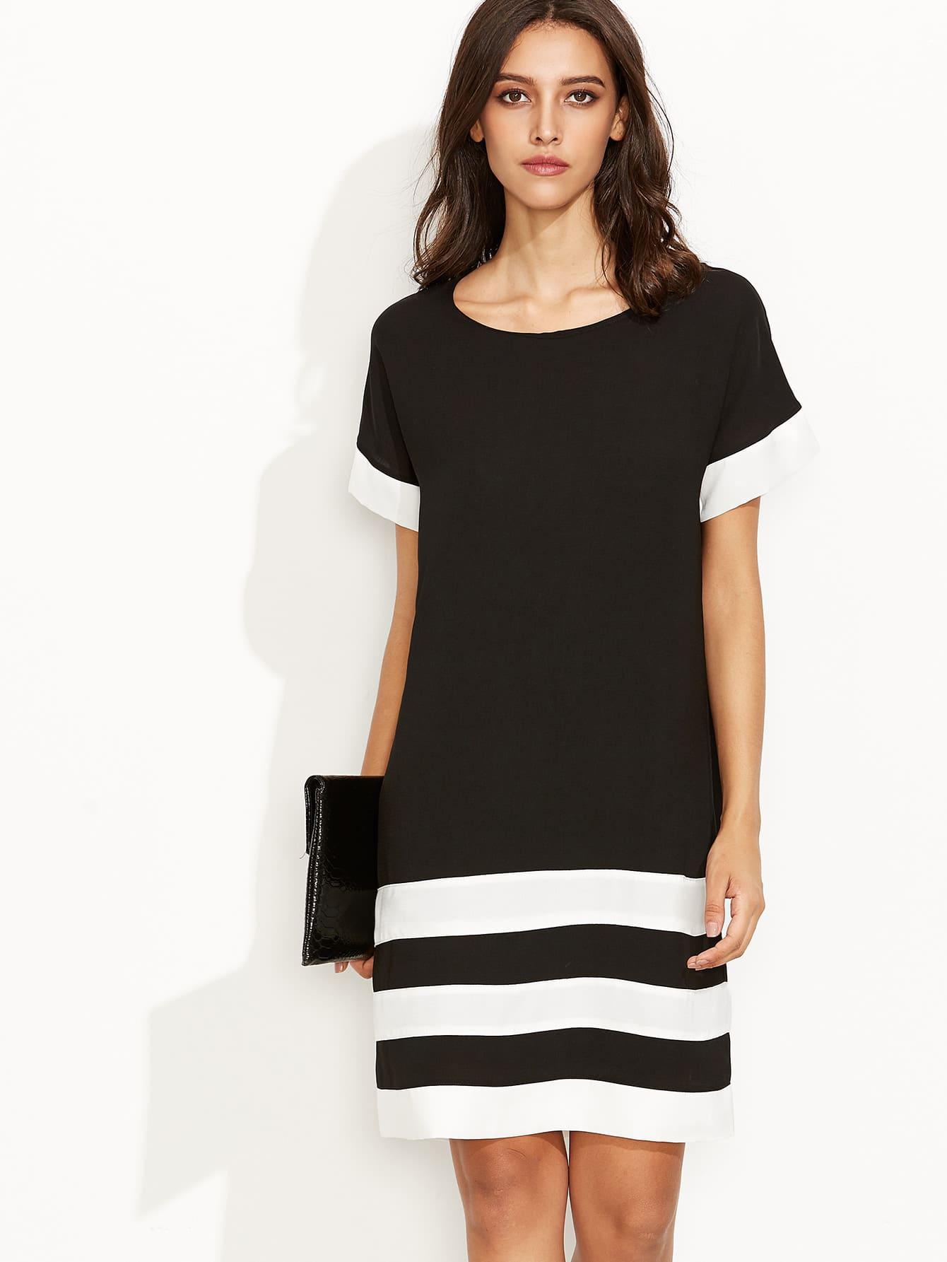 Black Contrast Panel Shift Dress