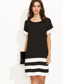 Black Contrast Panel Shift Dress