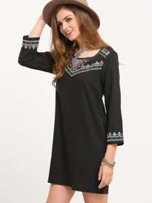 Black Round Neck Tribal Embroidered Dress