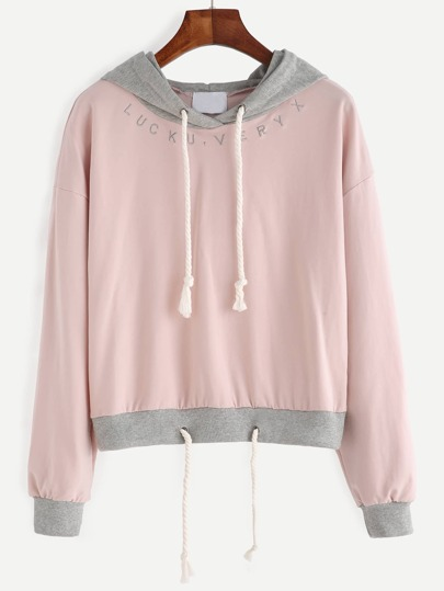 Pink Embroidered Contrast Trim Drawstring Hooded Sweatshirt