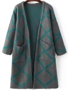 Grey Diamond Pattern Long Cardigan With Pockets