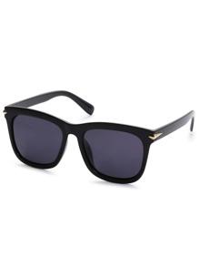Super Dark Black Lens Metal Trim Sunglasses