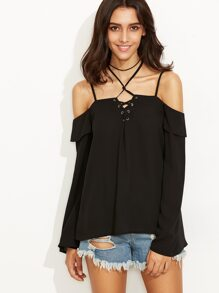 Black Lace Up Cold Shoulder Ruffle Top