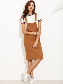 Khaki Ribbed Overall Dress With Pockets