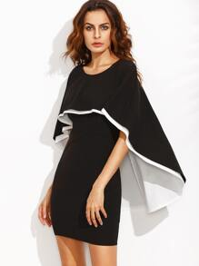 Black Combo Layered Cape Dress