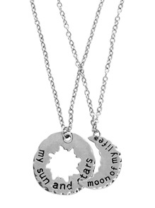 Silver Personalised Engraved Sun And Moon Necklaces