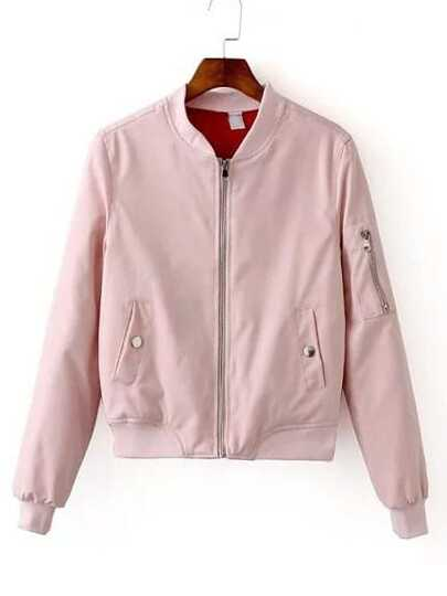 Pink Zipper Bomber Jacket With Arm Pocket
