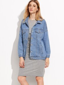 Blue Drop Shoulder Boyfrind Pockets Denim Jacket