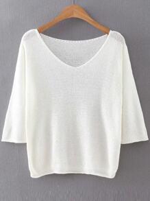 White V Neck Ribbed Trim Knitwear