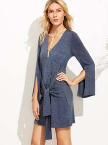 Navy Marled Knit Sleeve Tie Dress