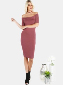 Sleeved Open Shoulder Midi Dress RED BROWN