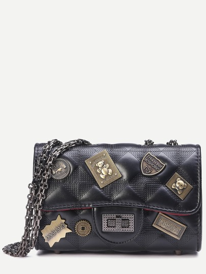 Quilted Flap Nameplate Chain Bag