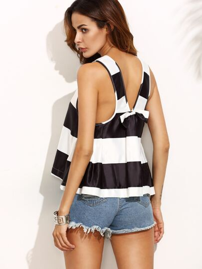 Black and White Striped Bow V Back Top