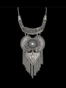 Antique Silver Tibetan Design Long Tassel Geometric Chunky Statement Necklace